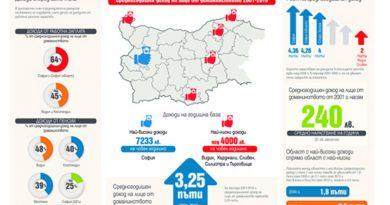 240 лв. средно увеличение на дохода на българина от 2001 г. / ГРАФИКИ/